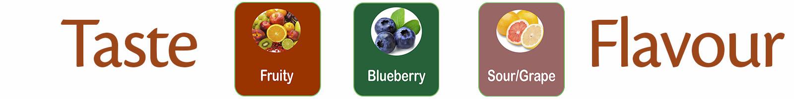 Selene F2 smaken pallet fruity, blueberry en sour grape